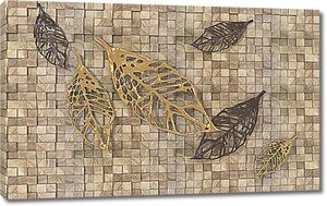 Листья на мозаичной стене