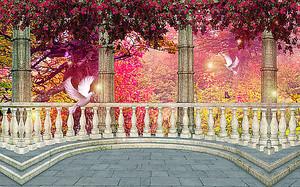 Веранда с голубями в цветущем саду