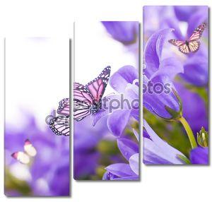 Цветы на белом фоне, темные Синие колокольчики и бабочка