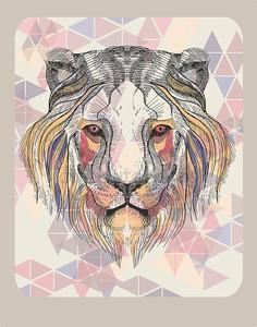 Глава льва с марочные шаблон