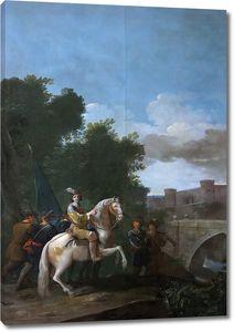 Гонсалес и Веласкес Антонио. Офицер на лошади с четырьмя пешими солдатами