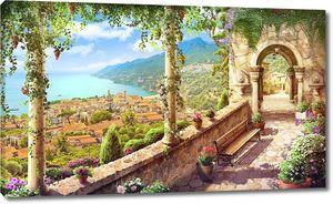 Красивая терраса с колоннами и цветами