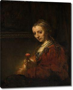 Рембрандт. Портрет женщины с гвоздикой