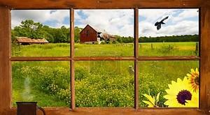 ландшафт страны рассматривать через окно дом фермы