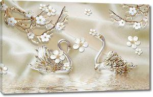 Белые цветы на позолоченных ветвях с лебедями