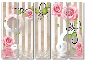 3D фон, вода и розы
