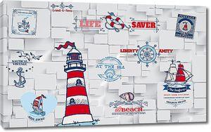 Морские символы по кирпичной стене