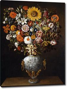 Томас Йепес. Букет цветов в вазе с колесницей