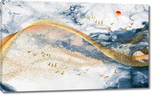 Золотая волна по каменной фактуре