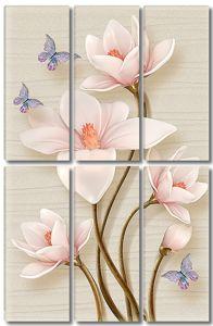 Розовые бутоны на золотых стеблях