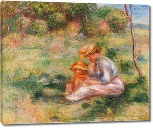 Ренуар. Женщина и ребенок в траве
