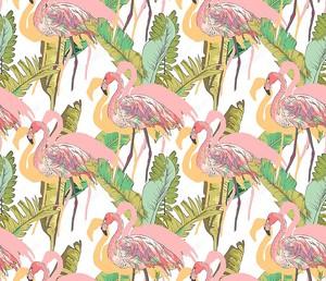 Розовый Фламинго - бесшовный фон