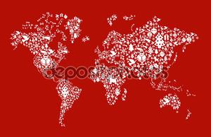 Рождественские глобус карта концепция
