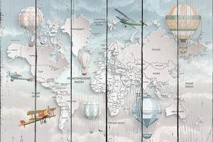 Детская карта мира с «объемными» материками