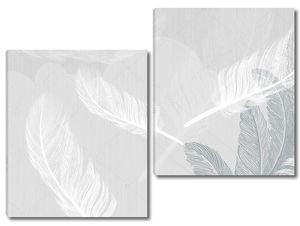 Светло-серый фон, большие серые и белые перья