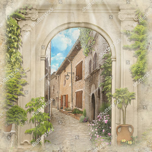 Старая улочка сквозь арку