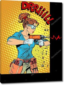 Женщина сверлит стены