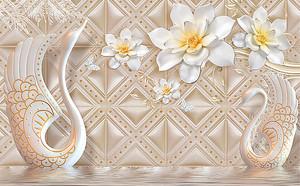 Статуэтки лебедей с цветами