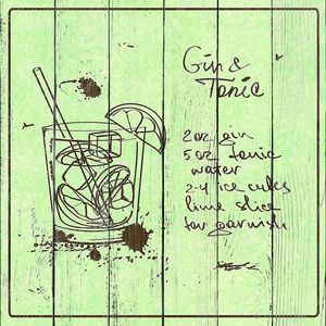 Hand drawn Gin and Tonic cocktail