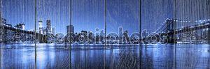 Вид на Манхэттен и Бруклинского мостов и skyline в ночь