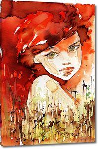 Портрет девушки с красными волосами