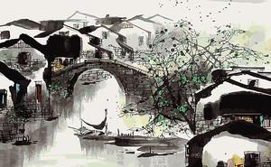 Городской канал акварелью
