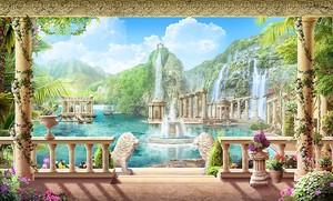 Вид с террасы на водопады и фонтаны