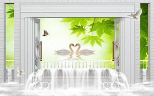 Водопад, два лебедя, зеленый клен