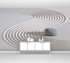 Японский сад дзэн на белом песке