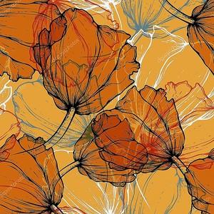 бесшовный фон с цветущими тюльпанами, рука рисунок. вектор иллю