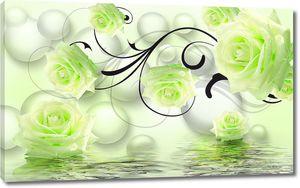 Зеленые розы с черным узором