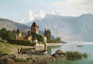 Замок Оберхофен на озере Тун в Швейцарии