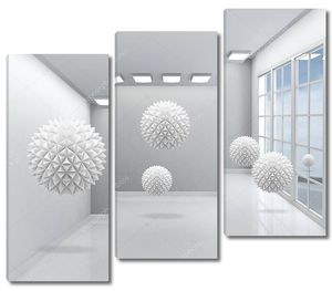 Серый интерьер с окном, большие серые шарики из бумаги