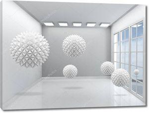 Интерьер с окном и  большими шарами оригами