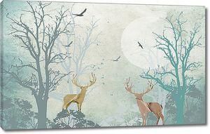 Два оленя в туманном лесу