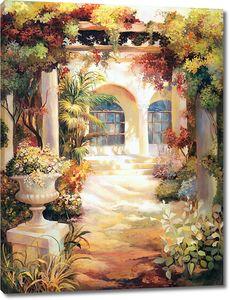Прекрасный сад с множеством цветов