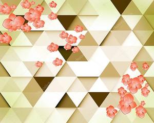 Фон из треугольников, бутоны цветов