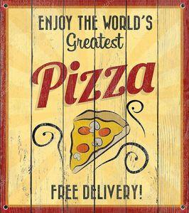 Пицца жестяной знак с гранж эффект