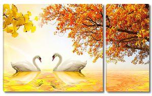 Осень с лебедями