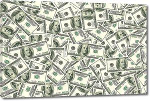 Фон из хаотично разбросанных долларовых банкнот