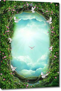 Лазурное небо в цветочной рамке