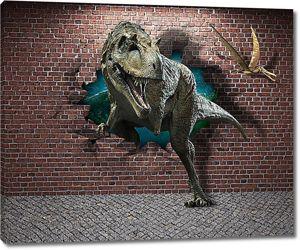 Тиранозавр из кирпичной стены