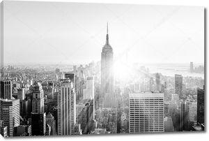 Манхэттен Нью-Йорк Сити в закат.