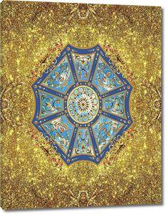 Золотой декоративный фон с витражом