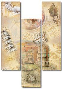 Коллаж с различной архитектурой и узорами
