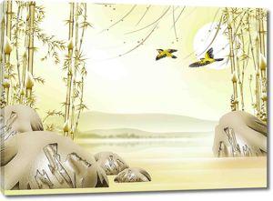 Птицы среди бамбука