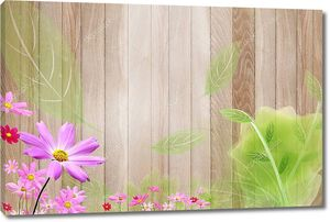 Деревянные фон, фиолетовые ромашки