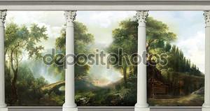 Деревья за колоннами