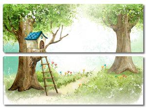 Сказочный мир с домиком на дереве