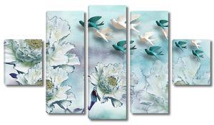 Цветы с голубями
